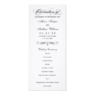 Wedding Program Panel | Black Calligraphy Design 10 Cm X 24 Cm Invitation Card