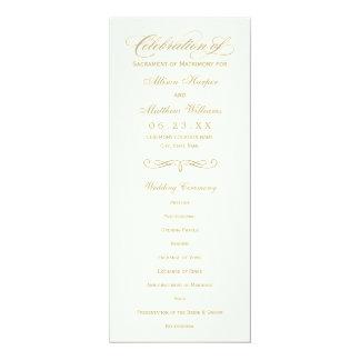 Wedding Program Panel | Gold Calligraphy Design 10 Cm X 24 Cm Invitation Card