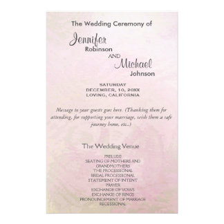 Wedding Program | Pink Pearl 14 Cm X 21.5 Cm Flyer