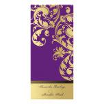 Wedding Program - Purple & Gold Shimmer Floral Customised Rack Card