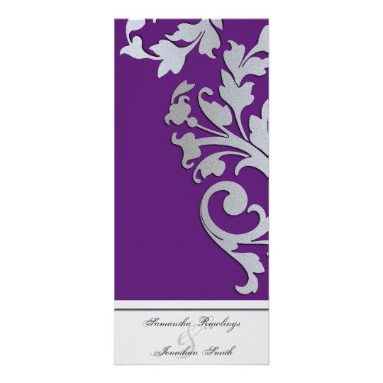 Wedding Program - Purple Silver Sparkle Swirl Full Color Rack Card