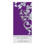Wedding Program - Purple Silver Sparkle Swirl Full Colour Rack Card