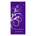 Wedding Program Purple White Floral Elegant Swirl Rack Cards