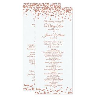Wedding Program Rose Gold Glitter Confetti White