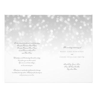 Wedding Program Silver Bokeh Sparkle Lights Flyer