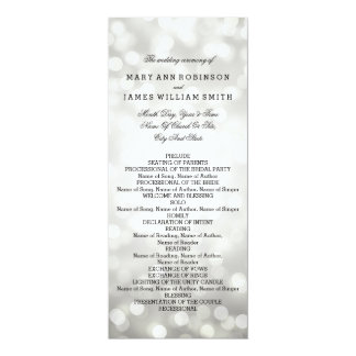 Wedding Program Silver Glitter Lights 10 Cm X 24 Cm Invitation Card
