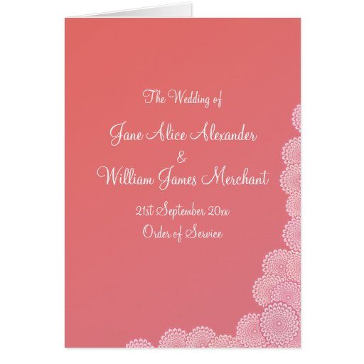 Wedding Program Simple Coral Pink Flowers Greeting Cards