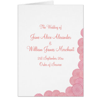Wedding Program Simple Coral Pink Flowers Note Card