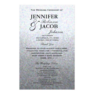 Wedding Program | Soft Silver Glitter Look 14 Cm X 21.5 Cm Flyer