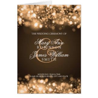 Wedding Program Sparkling Lights Gold Card