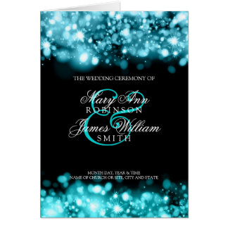 Wedding Program Sparkling Lights Turquoise Card