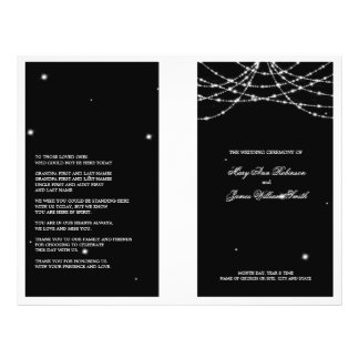 Wedding Program Sparkling String Black 21.5 Cm X 28 Cm Flyer