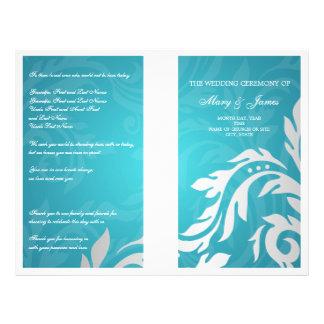 Wedding Program Swirly Flourish Aqua Blue Flyer