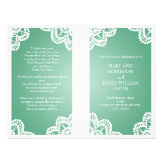 Wedding Program  Vintage Lace Mint Green Personalized Flyer