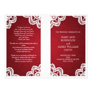 Wedding Program  Vintage Lace Red Flyer Design