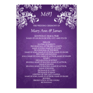 Wedding Program Vintage Swirls 2 Purple