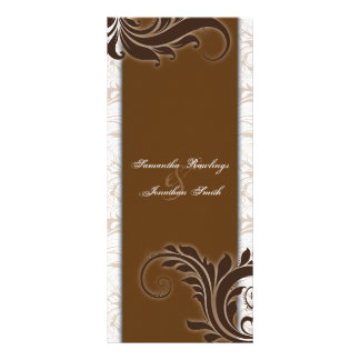 Wedding Program White Brown Beige Elegant Floral Rack Card Design
