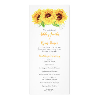 Wedding Program Yellow Sunflower Watercolor Floral Rack Card