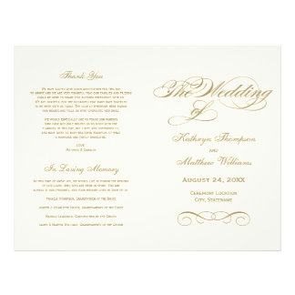 Wedding Programs | Antique Gold Calligraphy Design Flyer