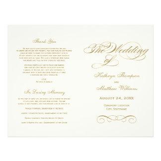 Wedding Programs | Antique Gold Calligraphy Design Flyer