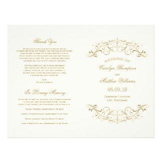 Wedding Programs | Antique Gold Flourish Flyer