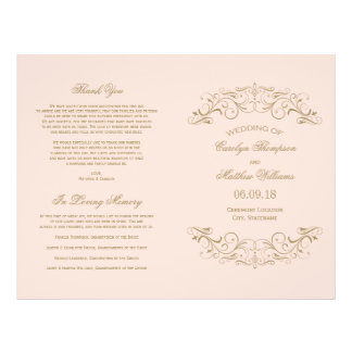 Wedding Programs | Antique Gold Flourish Flyer