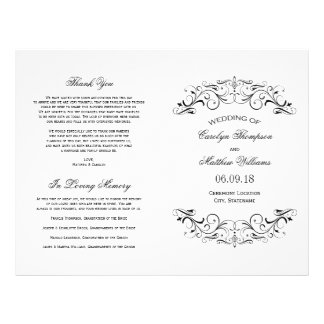 Wedding Programs | Black Flourish 21.5 Cm X 28 Cm Flyer
