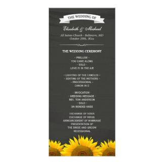 Wedding Programs Elegant Sunflowers Chalkboard Rack Card