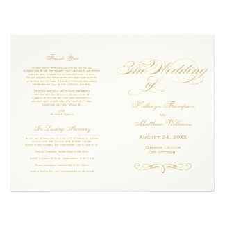 Wedding Programs | Gold Calligraphy Design Flyer