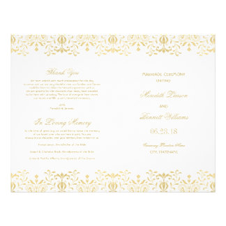 Wedding Programs | Gold Vintage Glamour 21.5 Cm X 28 Cm Flyer