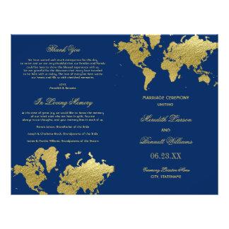 Wedding Programs | Gold World Map Flyer