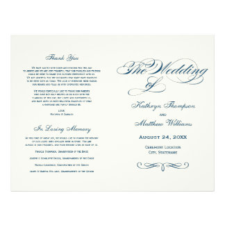 Wedding Programs | Navy Blue Calligraphy Design Flyer