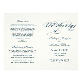 Wedding Programs | Navy Blue Calligraphy Design Flyer