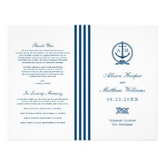 Wedding Programs | Navy Nautical Design 21.5 Cm X 28 Cm Flyer