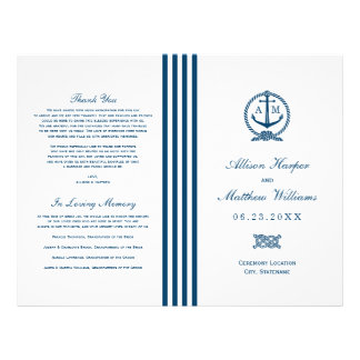 Wedding Programs | Navy Nautical Design Flyer