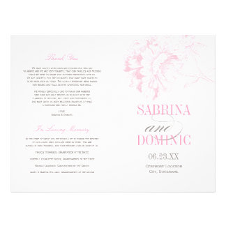 Wedding Programs | Pink Peony Floral 21.5 Cm X 28 Cm Flyer