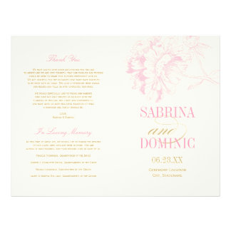 Wedding Programs | Pink Peony Floral with Gold Flyer