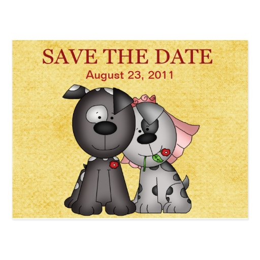 Wedding Puppies  Save the Date Postcard