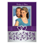 Wedding   Purple, Silver   Floral, Hearts   Photo Personalised Announcement