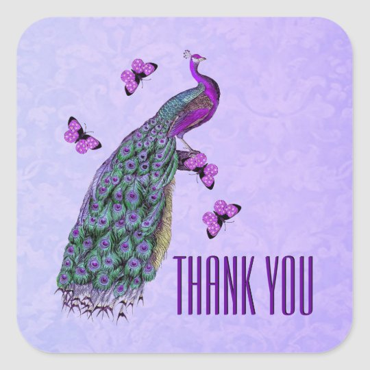 Wedding Purple Vintage Peacock THANK YOU V01C3E Square Sticker