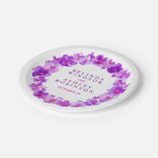 Wedding purple watercolor wreath custom plates 7 inch paper plate