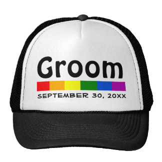 Wedding Rainbow Flag Banner Groom Cap