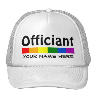 Wedding Rainbow Flag Banner Officiant Personalized Cap