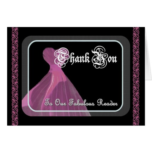 Wedding Reader THANK YOU - Purple Gown and Lace Card