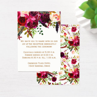Wedding Reception Card - Burgundy Floral, Feathers