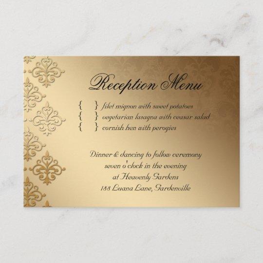 W ORANGE IVORY DAMASK PERSONALISED WEDDING AND//OR EVENING INVITATIONS