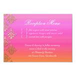 Wedding Reception Card Indian Damask Pink Orange