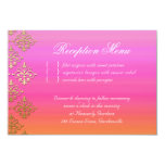 Wedding Reception Card Indian Damask Pink Orange 9 Cm X 13 Cm Invitation Card