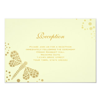 Wedding Reception Card Ivory & Gold Dragonfly Announcement