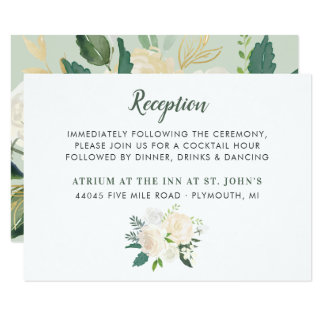 Wedding Reception Card | Neutral Blooms